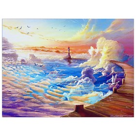 Алмазная мозаика «Облачный маяк» 40 × 30 см, 35 цветов