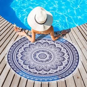 Полотенце пляжное круглое Этель «Мантры», диаметр 150 см, 100 % п/э