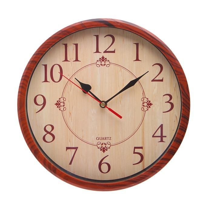 Часы настенные круг, под дерево, арабские цифры, d=30 см,