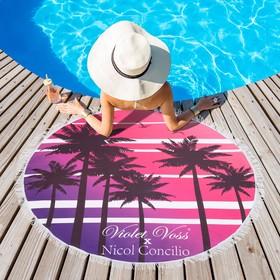 Полотенце пляжное круглое Этель «Пляж», диаметр 150 см, 100 % п/э