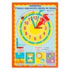 """Плакат """"Учимся определять время по часам"""" А4"""
