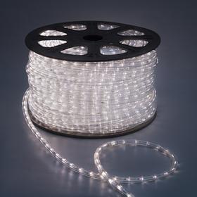 LED шнур 13 мм, круглый, 100 м, фиксинг, 2W-LED/м-36-220V в компл. набор д/подкл. Нейтр. Бел. Ош