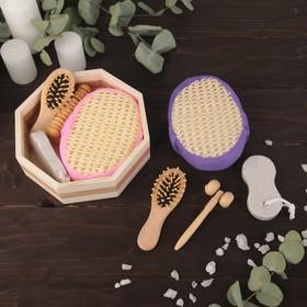 Набор банный, 4 предмета: мочалка, пемза, расчёска, массажёр
