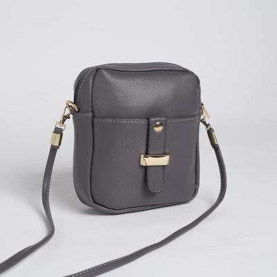 Bag, Department, zippered, outer pocket, long strap, color grey