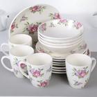 """Столовый сервиз """"Кантри"""", 16 предметов, розовые цветы"""