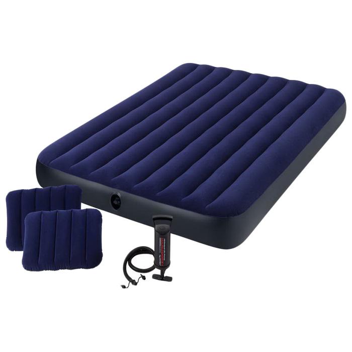 Матрас надувной Classic Downy Fiber-Tech,152 x 203 х 25 см, с ручным насосом, 64765 INTEX