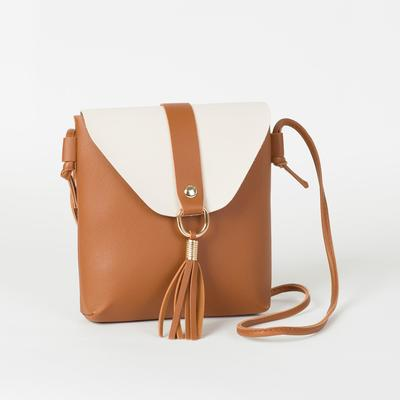Bag for women, the division on the flap, long strap, color brown/milk