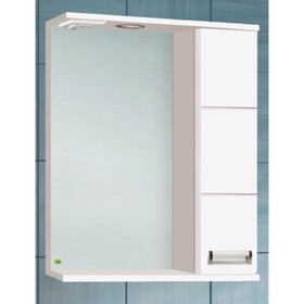 "Зеркало-шкаф ""Флора 600 Т со светом"" белое, правое арт.10552"