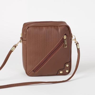 Bag, Department, zippered, outer pocket, long strap, color brown