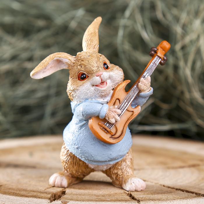 """Сувенир полистоун """"Заяц гитарист"""" 6,5х4,5х8 см"""