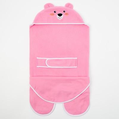 Конверт-одеяло Крошка Я «Белый мишка», розовый, рост 62–68 см