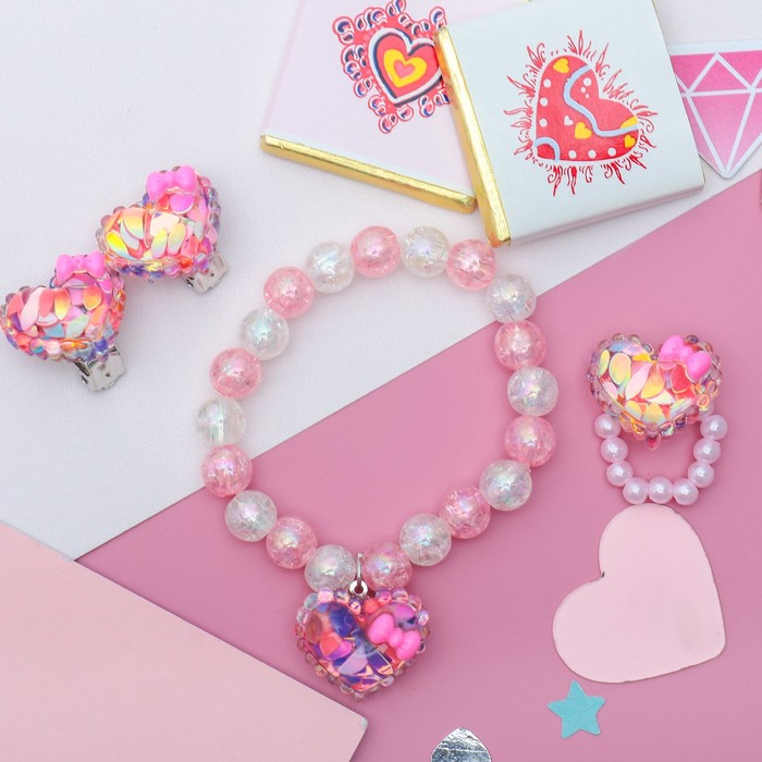 """Набор детский """"Выбражулька"""" 3 предмета: клипсы, кольцо,браслет сердечки блестки, цвет бело-розовый"""