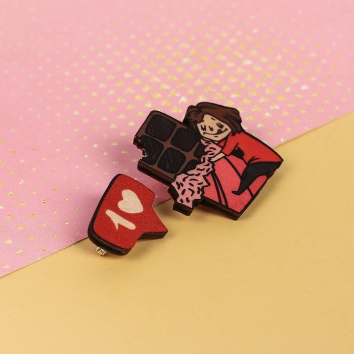 """Парные значки на подложке """"Шоколад"""" - фото 234155359"""