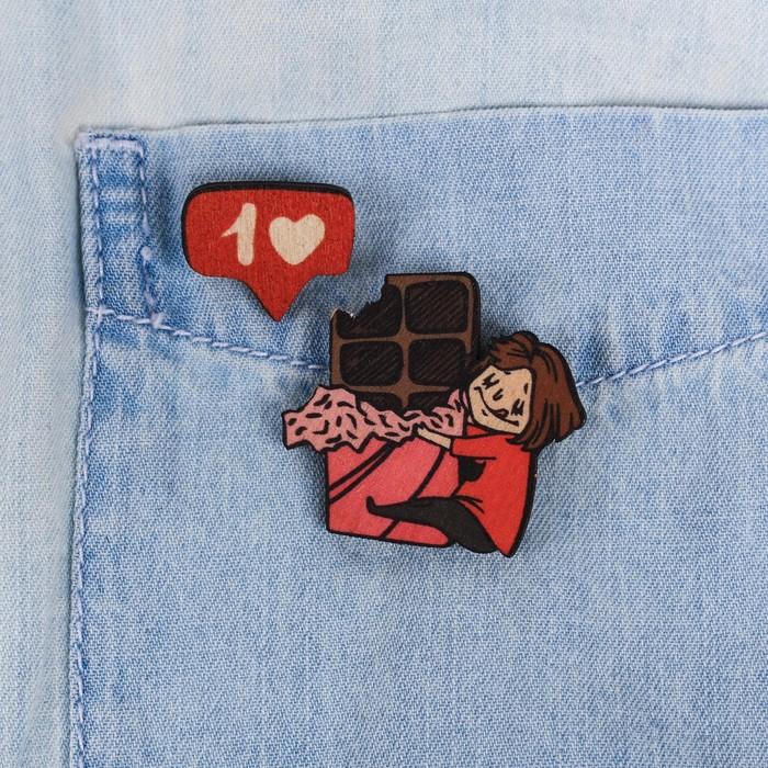"""Парные значки на подложке """"Шоколад"""" - фото 234155357"""