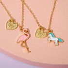"Pendant baby ""Vibracula"" Flamingo and unicorn, 2 chains, colored in gold"