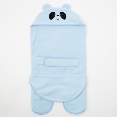 Конверт-одеяло Крошка Я «Пандочка», голубой, рост 62–68 см