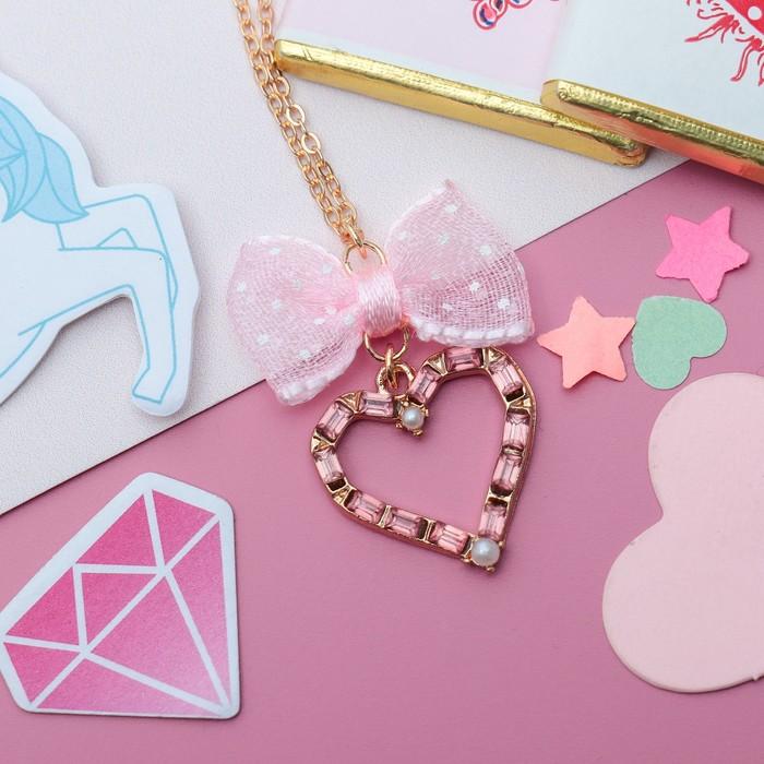 """Кулон детский """"Выбражулька"""" кристальное сердце с бантом, цвет розовый в золоте - фото 448784252"""