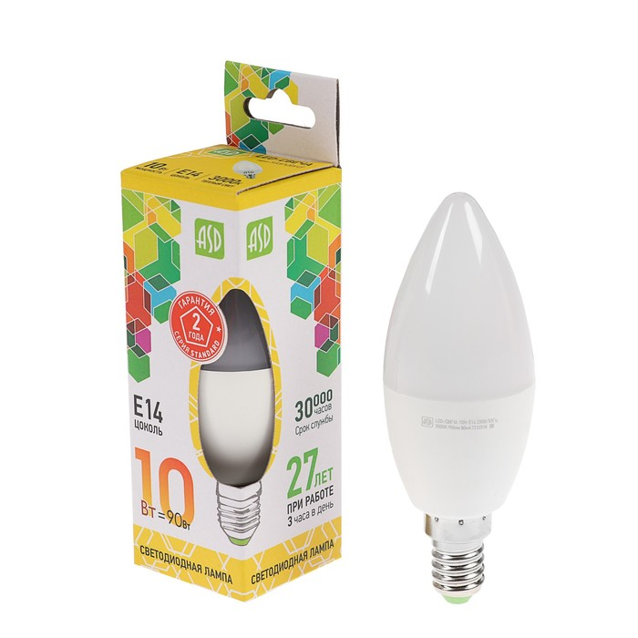 Лампа светодиодная ASD LED-СВЕЧА-standard, Е14, 10 Вт, 230 В, 3000 К, 900 Лм