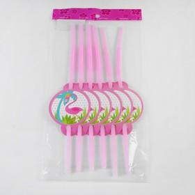 Трубочки для коктейля «Фламинго», набор 6 шт.