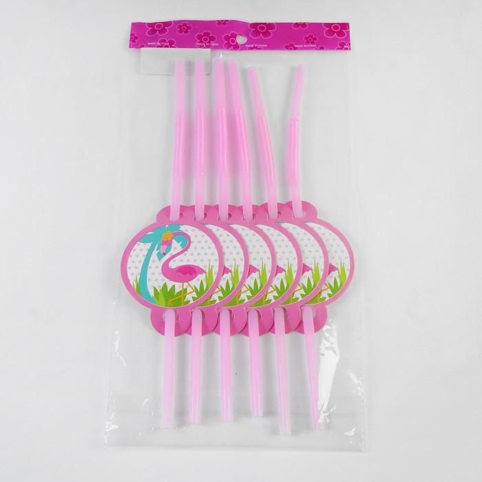 """Трубочки для коктейля """"Фламинго"""" набор 6 шт"""
