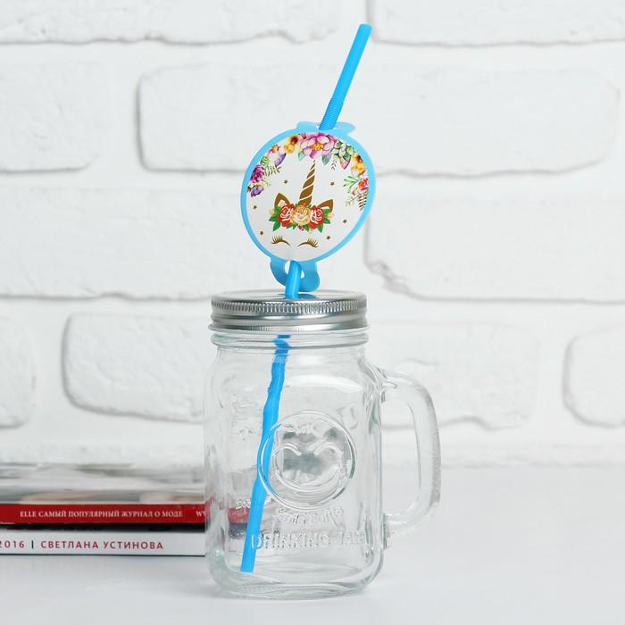 "Трубочки для коктейля ""Единорог"" набор 6 шт, цвет голубой"
