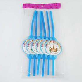 Трубочки для коктейля «Единорог», набор 6 шт., цвет голубой