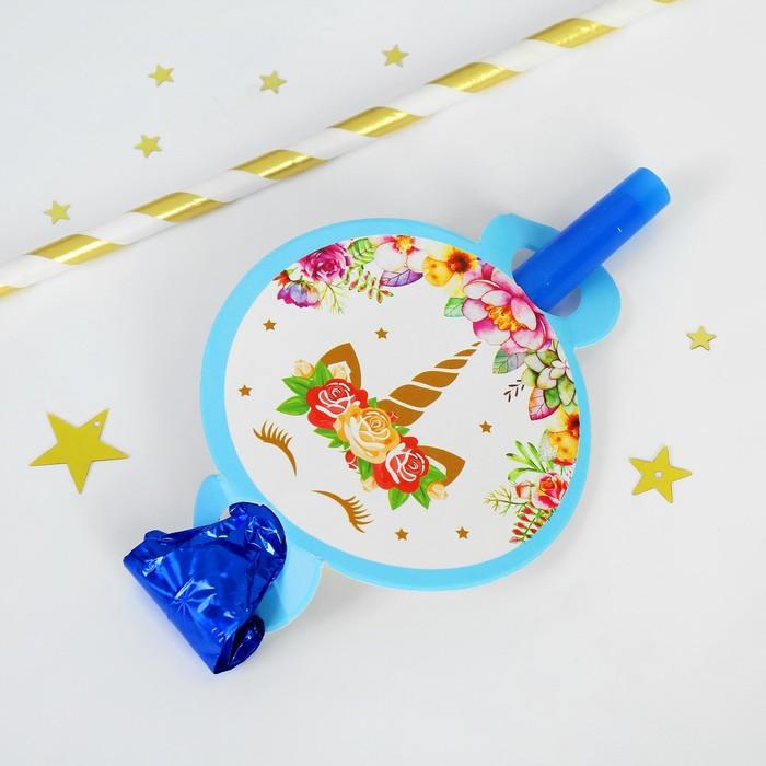 """Карнавальный язычок """"Единорог"""" набор 6 штук, цвет голубой"""