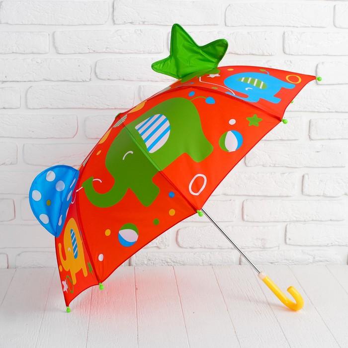 """Зонт детский фигурный """"Слоники в цирке"""""""