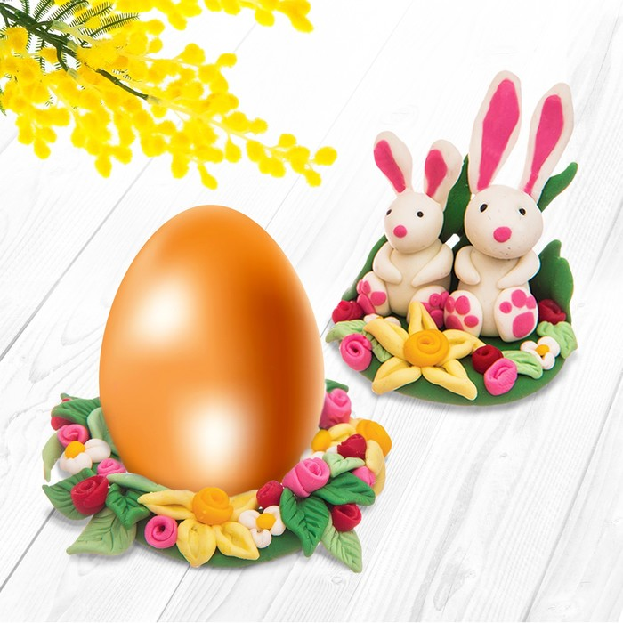 """Подставка для яиц из полимерной глины, набор для создания """"Зайчики"""" - фото 686989679"""