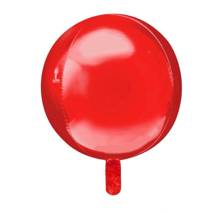 """Шар фольгированный 22"""" 3D Сфера, матовый, цвет красный"""