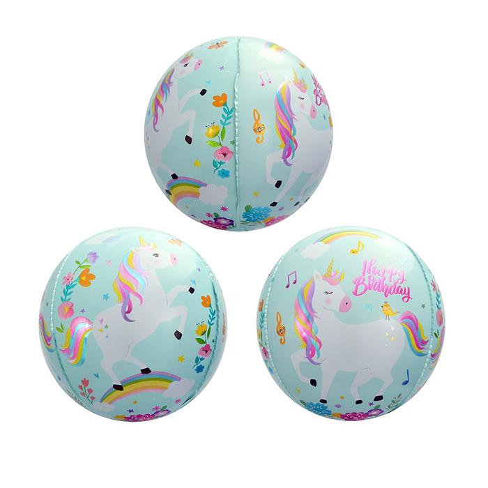 """Шар фольгированный 20"""" 3D Сфера «С днём рождения!», единорог, цвет голубой - фото 308473710"""