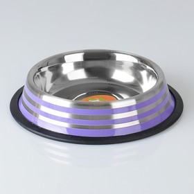 Bowl with non-slip base with colored stripes, 470 ml