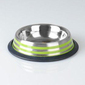Bowl with non-slip base with colored stripes, 230 ml