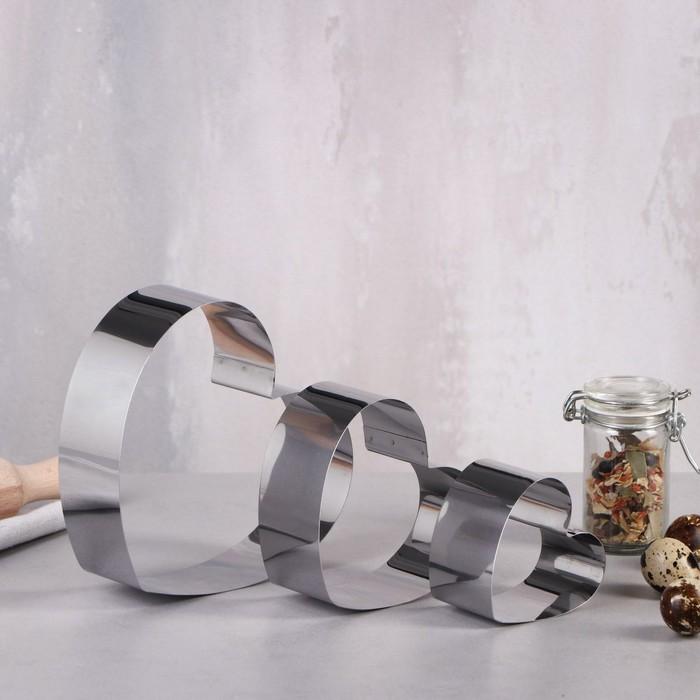 """Набор форм для выпечки и выкладки """"Сердце"""", 15 х 15 х 5 см, 3 шт."""