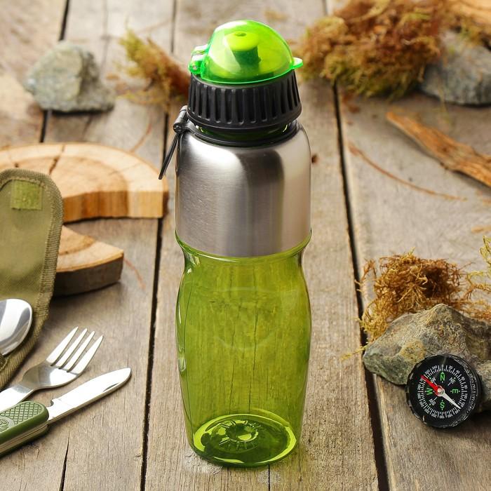 Бутылка для воды 850 мл, с соской, вставка металл сверху, микс, 7,5х26 см 2770095