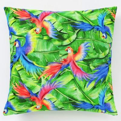 Декоративная наволочка Этель «Попугай», 45 × 45 см, репс, плотность 130 г/м², хлопок 100 %