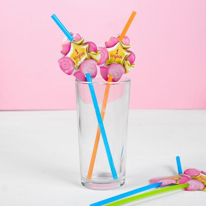"""Трубочки для коктейля """"1 годик"""" малышка, (набор 6 шт)"""