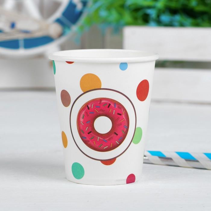 Стакан бумажный «Пончик и круги», 250 мл, набор 6 шт.