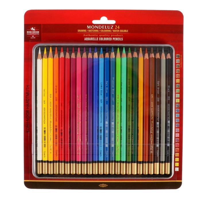 Карандаши Koh-I-Noor Mondeluz 3724 художественные акварельные, 24 цвета, металлический пенал, блистер, с европодвесом