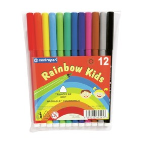 Фломастеры 12 цветов Centropen Rainbow Kids 7550/12, пластиковая упаковка