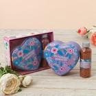 """Подарочный набор """"Маленьких радостей"""": шкатулка-сердце+жемчуг для ванны"""