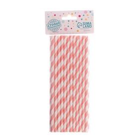 Трубочка для коктейля «Спираль», набор 25 шт., цвет белый-светло розовый