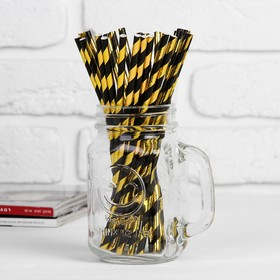 Трубочка для коктейля «Спираль», набор 25 шт., цвет чёрно-золотой
