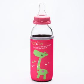 Бутылочка для кормления стеклянная, ср. поток, с крышкой, 300 мл, от 0 мес., цвет МИКС