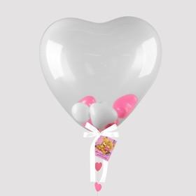 """Шары в шаре """"Сердце"""", 5"""", 24"""", гирлянда, открытка, розовый"""