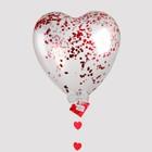"""Воздушный шар """"Сердце"""", 24"""", с конфетти, гирлянда, открытка, красный - фото 308469780"""