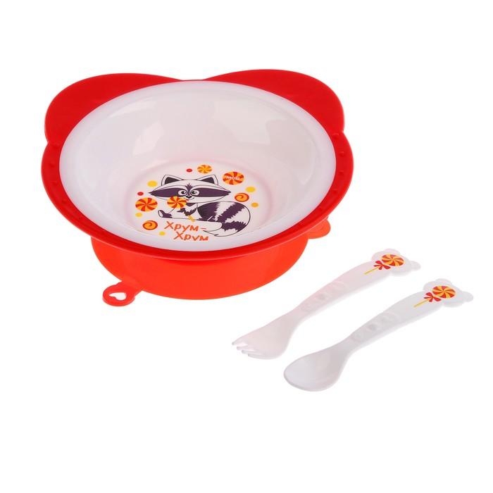 Набор посуды «Енотик Тобби», 3 предмета: тарелка на присоске 250 мл, вилка, ложка