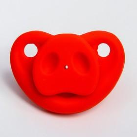 Пустышка силиконовая ортодонтическая «Пятачок», от 0 мес., с колпачком, цвет МИКС