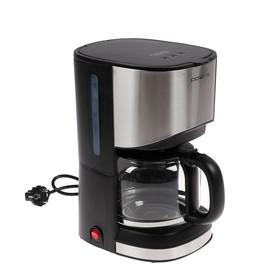 Кофеварка Polaris PCM 1215A, капельная, 900 Вт, 1.2 л, серебристо-чёрная