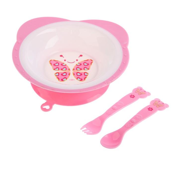 Набор посуды «Бабочка», 3 предмета: тарелка на присоске 250 мл, вилка, ложка